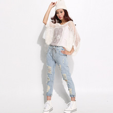 Ms elastic waist jeans female trousers Department of bandwidth loose waist hole straight jeans