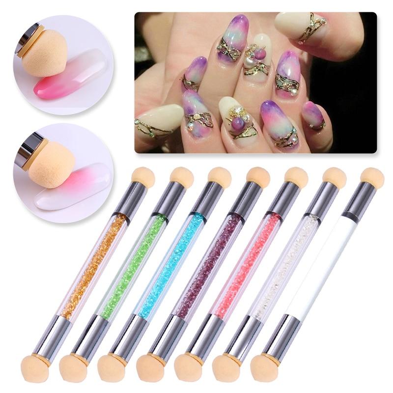 1 шт. двухсторонний дизайн ногтей, ручка с кисточкой, градиентная затеняющая губка, ручка из горного хрусталя, DIY аксессуары для дизайна ногт...