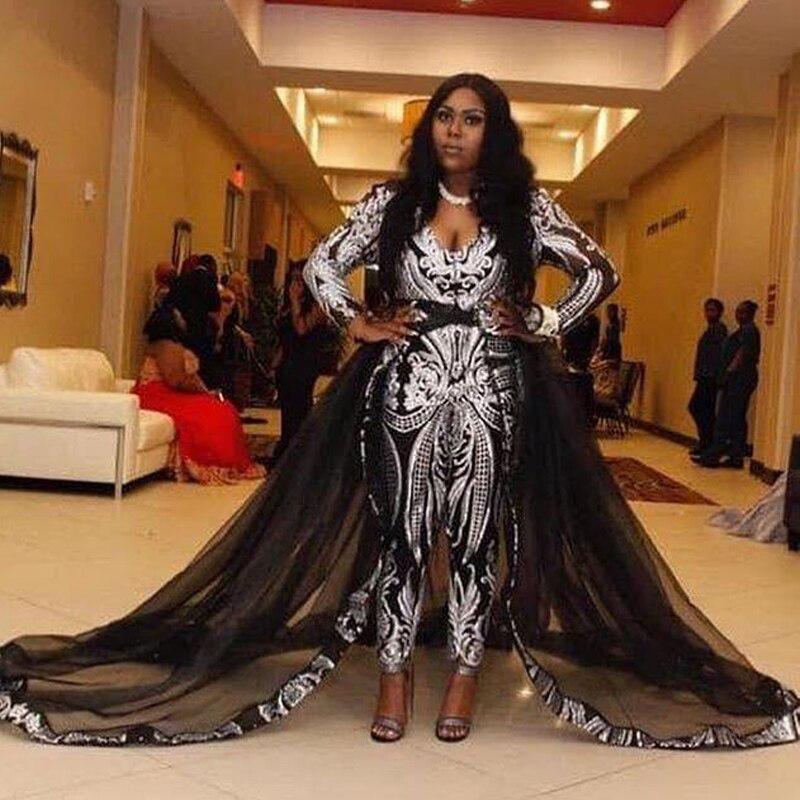 US $166.93 12% OFF|Unique Black Jumpsuit Evening Dresses with Detachable  Train Sliver Sequined Celebrity Gown Sweep Train Plus Size Prom Dress  2019-in ...