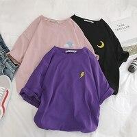 Harajuku футболка женская летняя хлопок облако молния солнце Befree Винтаж Вышивка Уличная короткий рукав корейский стиль Топ