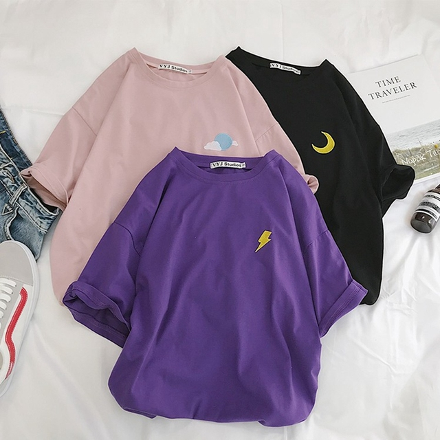 Harajuku T חולצה נשים קיץ כותנה ברקים ענן שמש Befree בציר Embroideried Streetwear קצר שרוול קוריאני סגנון למעלה