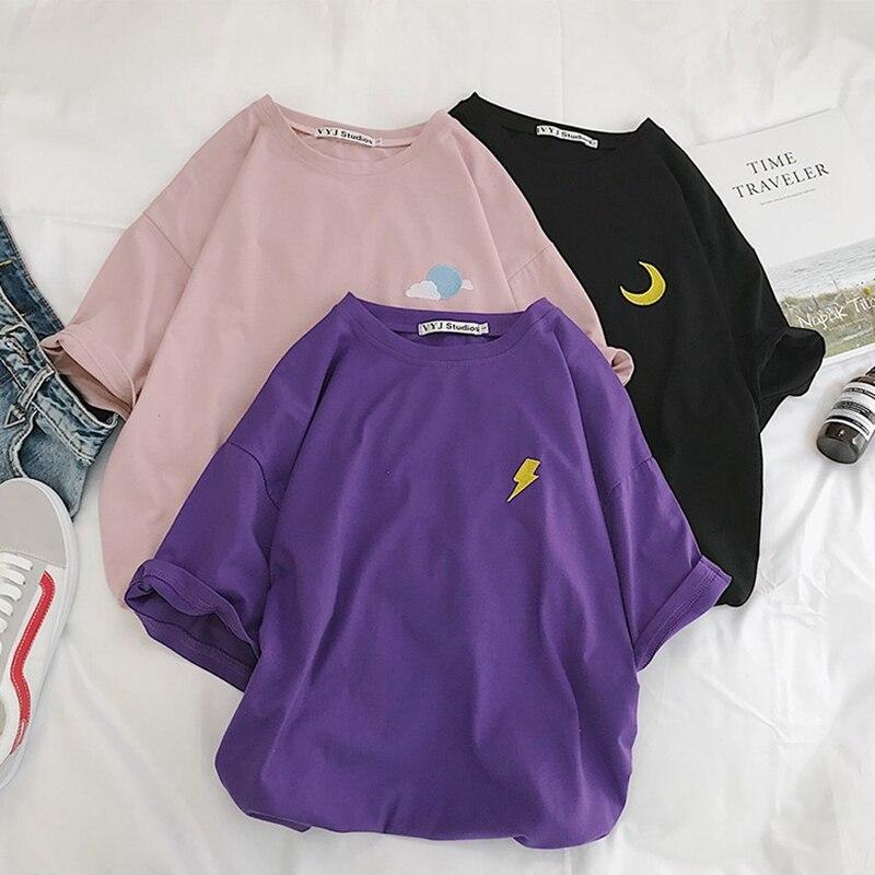 Harajuku T hemd Frauen Sommer Baumwolle Wolke Blitz Sonne Befree Vintage Embroideried Streetwear Kurzarm koreanischen Stil Top
