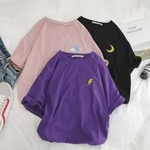 Harajuku T shirt Women Summer Cotton Cloud Lightning Sun Befree Vintage Embroideried Streetwear Short Sleeve korean Style Top