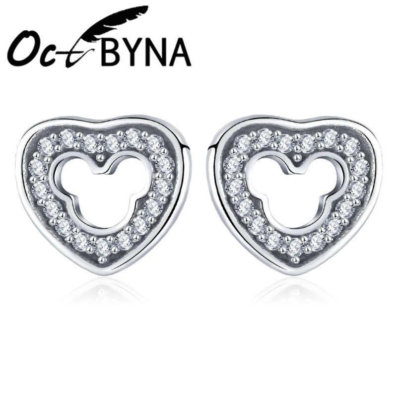 Octbyna פשוט יפה לב Stud עגילי נשים באיכות גבוהה CZ מותג עגילים לילדה מתנות תכשיטי Dropshipping