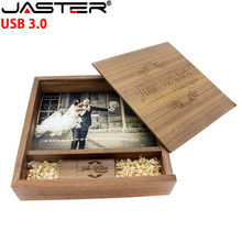 JASTER logotipo personalizado foto único álbum madera nogal USB flash drive USB + caja USB 3,0 Pendrive 8 GB- 64GB (170*170*35mm)(China)
