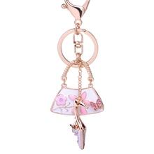 Creative Keychain!Fashion Rhinestone High-heeled Shoes Bag Key Chains Holder Charm Women Handbag Car Keyring Jewelry Gift R013