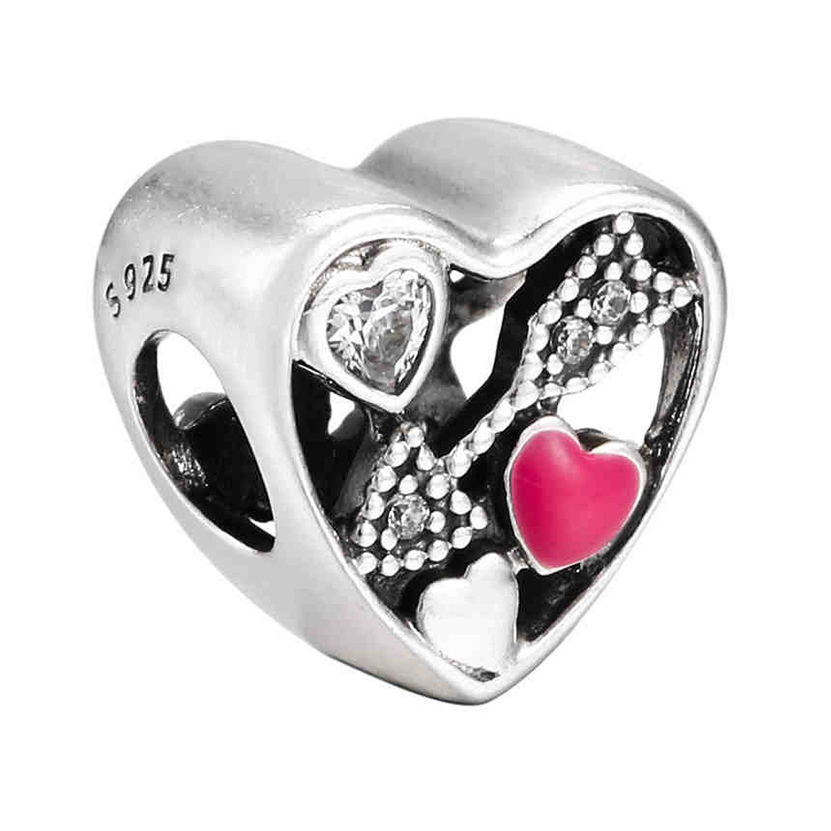 New 925 Sterling Silver Bead Charm Openwork Struck By Love With Crystal Cupids Arrow Beads Fit Pandora Bracelet Diy Jewelry