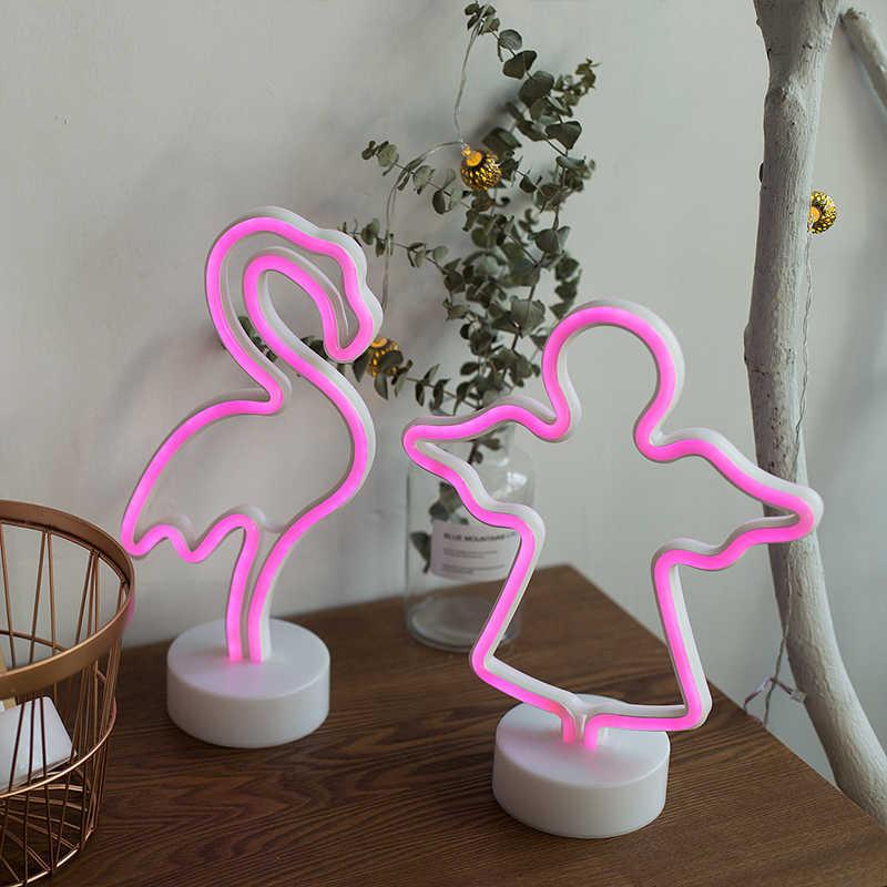 ROPIO светодиодный неоновый абажур, Ночной светильник, настольный ночник, фламинго, ангел, сердце, на батарейках, для дома, свадьбы, рождества, украшение