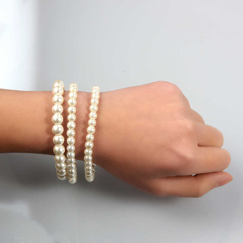 SUKI 3 PCS/Set Charm Simulated-pearl Beads Bracelet White Color For Women Fashion Jewelry Bridal Wedding Accessories