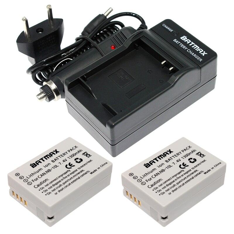 2Pcs NB10L NB 10L Digital Camera Batteries&Charger for Canon G1X G15 G16 SX40HS SX50HS SX60HS SX40 SX50 SX60 HS Camera (1300mAh)