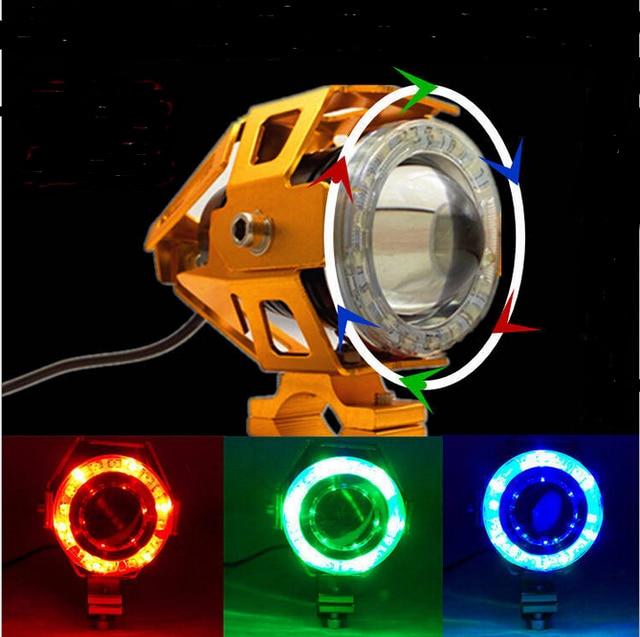 Transformers Shape Universal Motorcycle LED Headlight U7 LED Laser Gun Strobe Headlight 125W Waterproof Fog Light