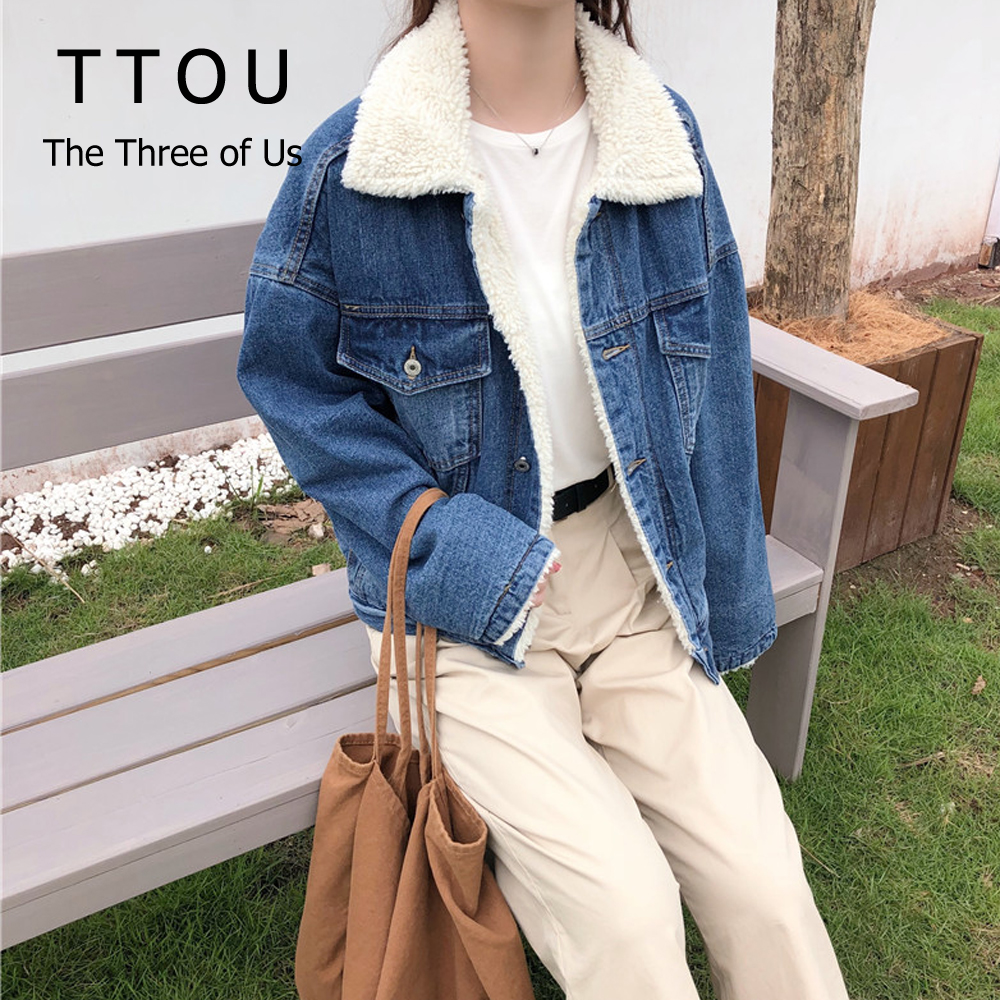 TTOU Fashion Denim Winter   Jackets   Women Loose Warm Top Female Parka Outerwear Casual Autumn Fur   Basic     Jackets