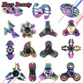 5 Color EDC Tri-spinner Aluminum Alloy Metal Finger Gyro For Autism and ADHD Anxiety Stress Adults Kid Toys Hand Spinner