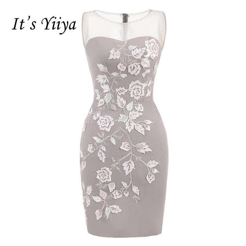 It's YiiYa Sexy Illusion Flowers Sleeveless Zipper Taffeta Straight Cocktail Dresses Knee Length Formal Dress Party Gown 7554