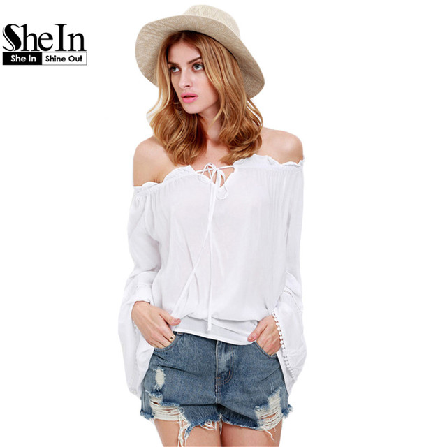 1a1b36b28b SheIn Womens White Long Sleeve Style Off The Shoulder Blouses Casual Summer  Beach Batwing Sleeve Loose