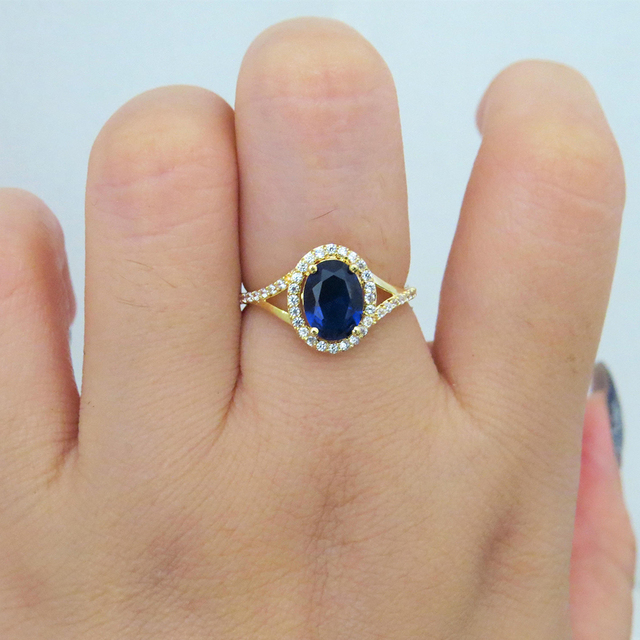 1.00ct carat 7*5mm Lab Created Blue Sapphire Engagement Ring With White Moissanite Stone Halo Ring 14k Yellow Gold
