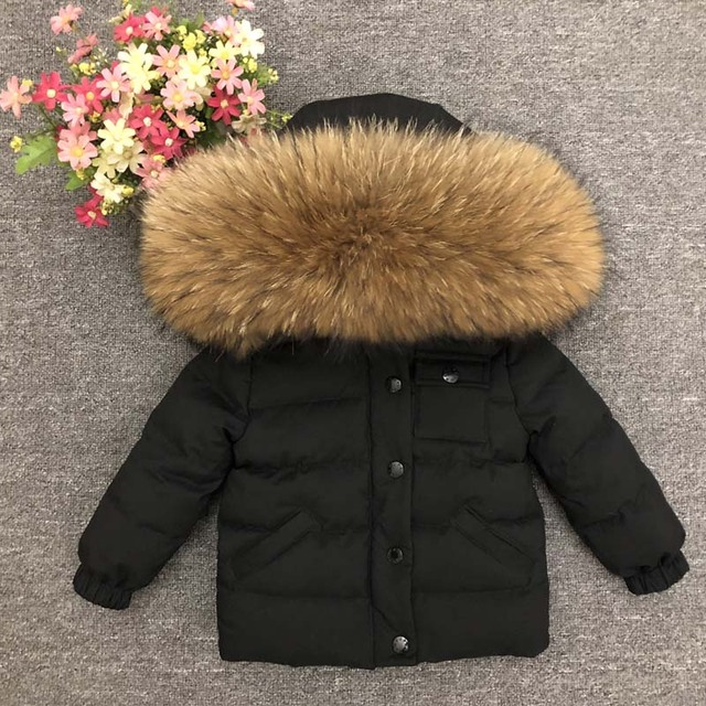 ab946bb21 Boys Winter Jacket Coats Real Large Fox Fur Collar Parka Thick ...