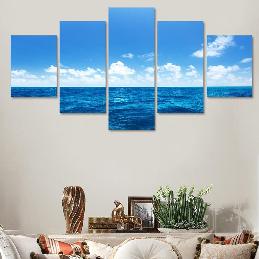 ộ_ộ ༽5 unids unframed paisaje marino lienzo cuadro pintura al óleo ...