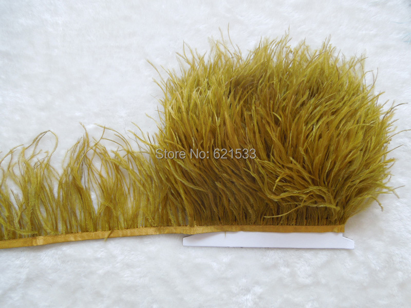 Olive Green Ostrich Fringe,10yards/lot-Ostrich feather Trim,Ostrich trimming on Satin Header 5-6inches in width