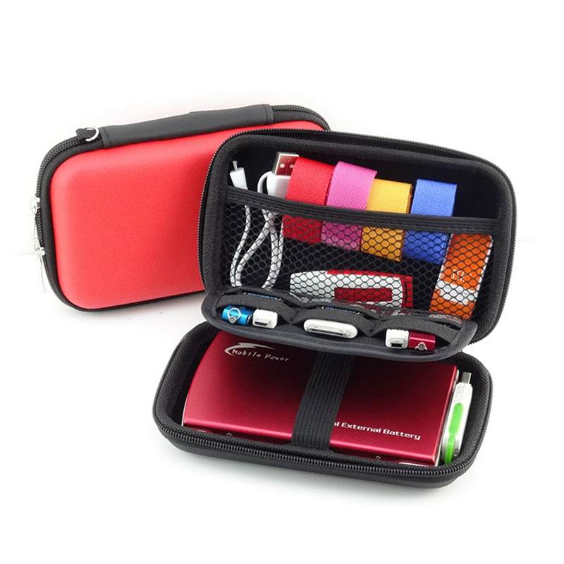 Hoomall Zipper Earphone Case Leather Storage Box Hard Bag travel digital Memory Card power bank USB Cable Organizer Waterproof