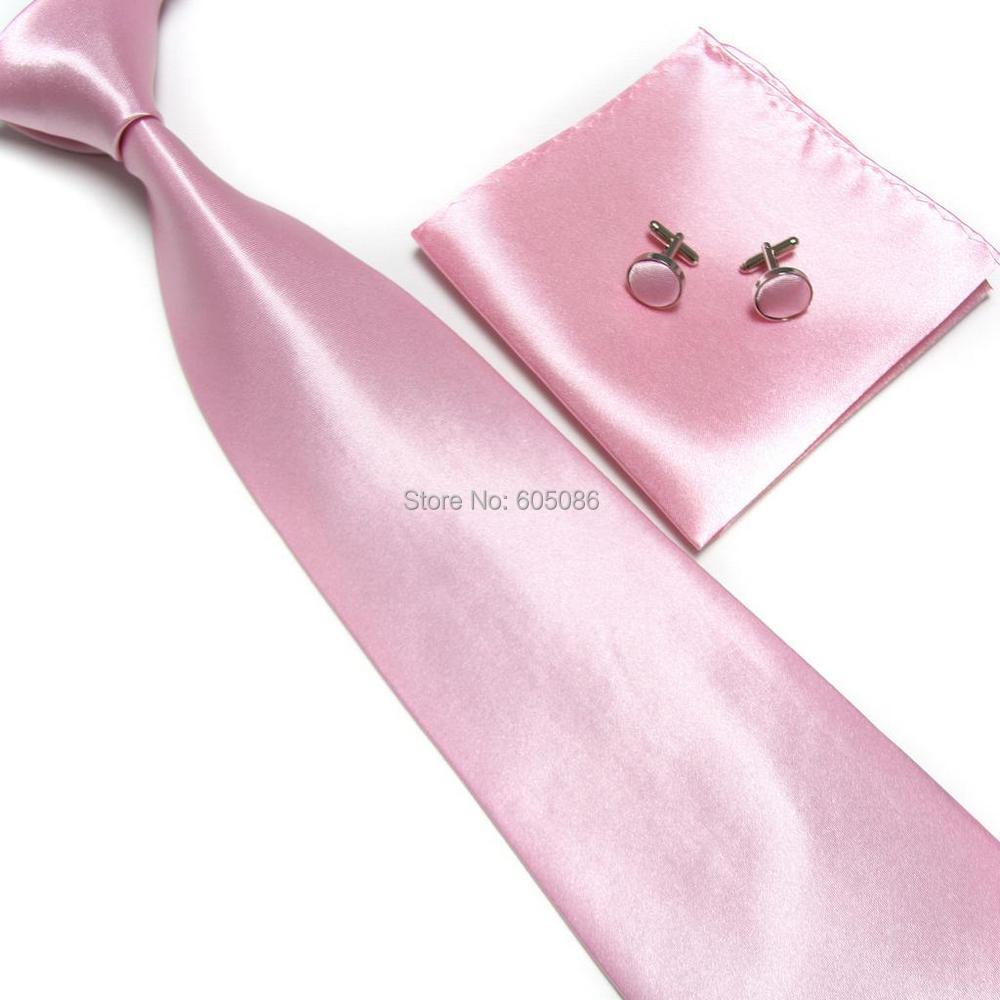HOOYI 2019 Solid Pink Men's Neck Tie Set Cufflinks Handkerchiefs