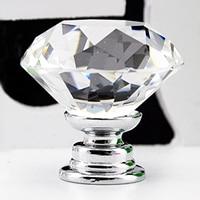 Useful 10 Pcs 30mm Diamond Shape Crystal Glass Cabinet Knob