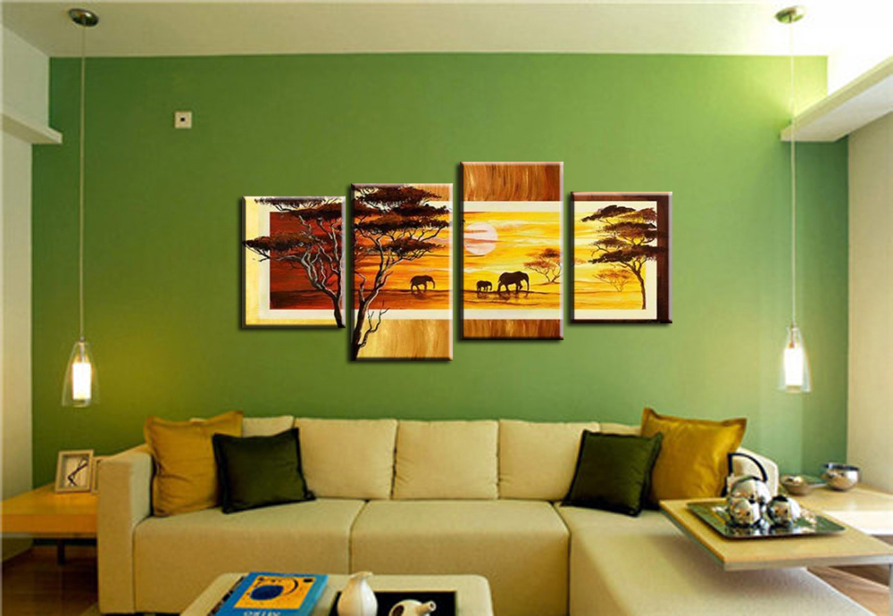 4 piece elephants walking africa wall arts pictures canvas painting ...