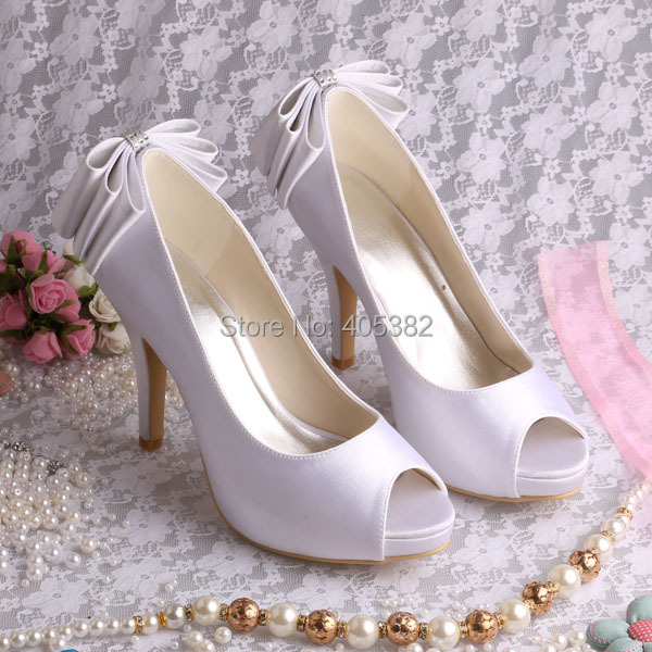 ФОТО New Arrival 2015 High Heeled Open Toe Bridal Shoes Decoration Bow White Satin Size 7 Free Shipping
