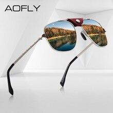 AOFLY lunettes de soleil polarisées pour hommes, style de marque, Vintage, monture pilote en or, Punk, pour la conduite