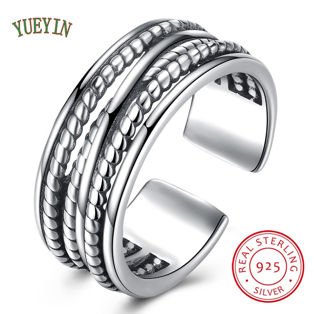 YUEYIN Genuine 925 Sterling Silver wide cross mesh open size Finger free size Rings for Women Wedding fine Jewelry Gift
