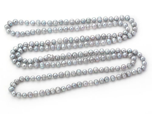 Nice Long rope 8 9mm Natural Grey Freshwater Pearl Necklace 160cm of Pearls