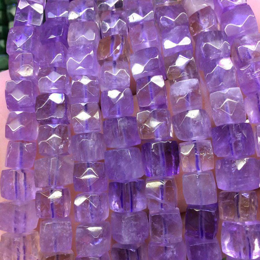 square shape amethysts beads natural stone beads DIY spacer beads for jewelry making strand 15