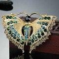 Broche de mariposa Vintage para mujeres regalos de fiesta Colares broches de diamantes de imitación ramo de insectos verdes Hijab accesorios bufanda alfileres
