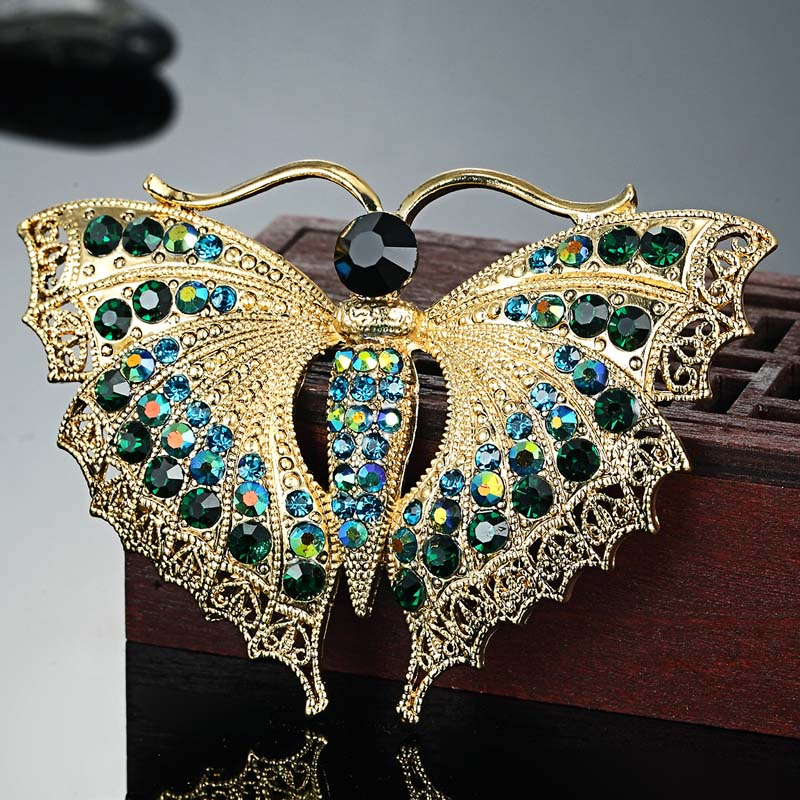 Vintage Butterfly Broche For Women Party Gaver Colares Rhinestone Brooches Bouquet Grøn Insekt Hijab Tilbehør Scarf Pins