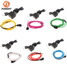 POSSBAY Universal 2M Car Interior LED Light Glow EL Wire Strip Rope Tube Dance Party+USB Controller 10 Colors Car Styling(China)