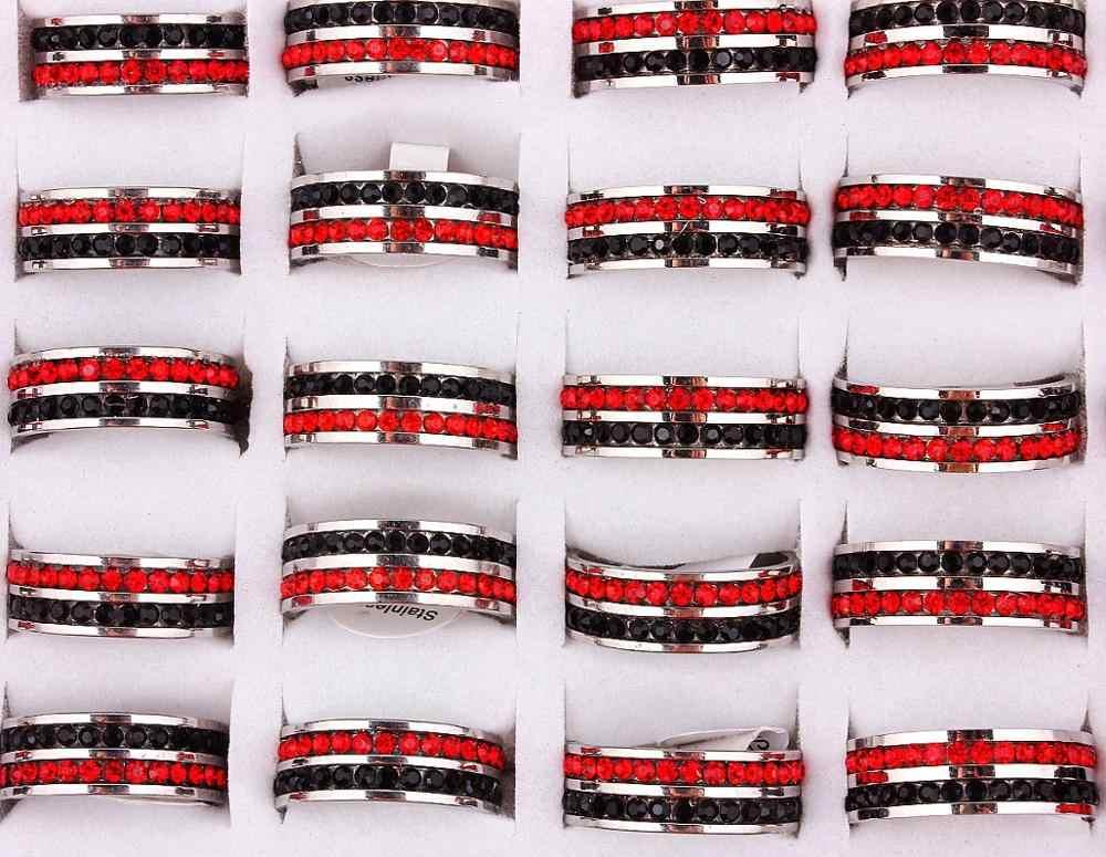 QianBei316L เงิน 2Row สีแดงสีดำ CZ Inlay แหวนสแตนเลสแต่งงานเจ้าสาววาเลนไทน์แฟชั่นเครื่องประดับ 17-21 มม.