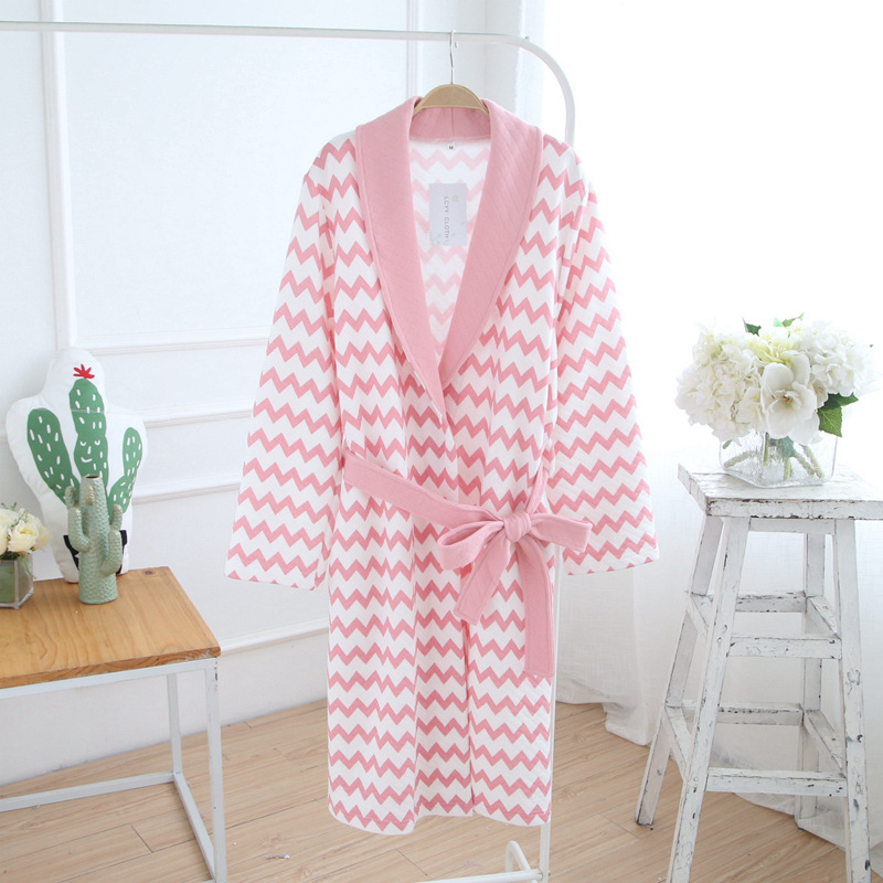 women winter bath Robes cotton long sleeve Bathing Suits autumn nightgown Sets spring warm soft breathable comfortable