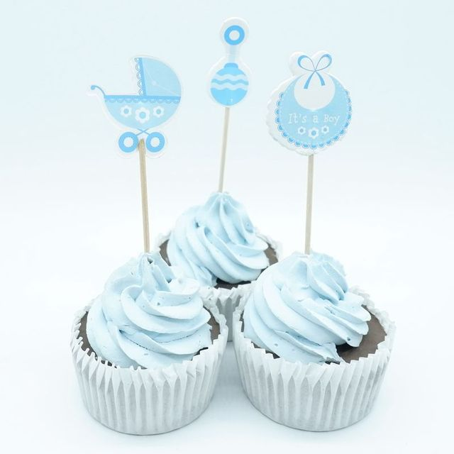18pcs Baby Shower Blue Cupcake Toppers Pick Baby Shower Favors Party