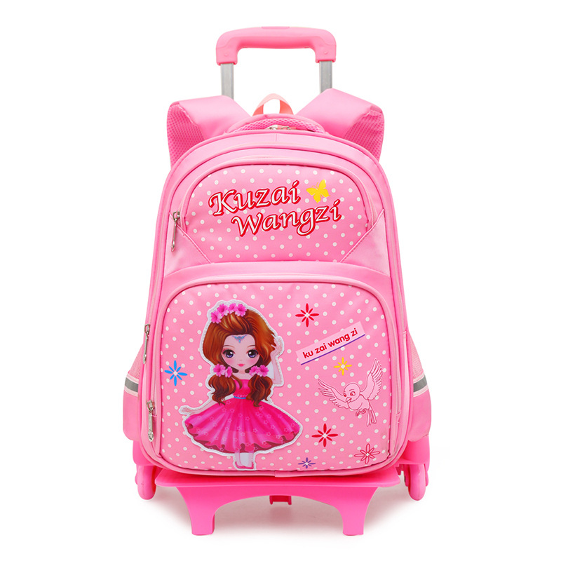 Children Trolley school Backpack Fashion Cartoon Wheeled School Bag For Girls Boys Detachable Backpack kids schoolbags mochila цена 2017