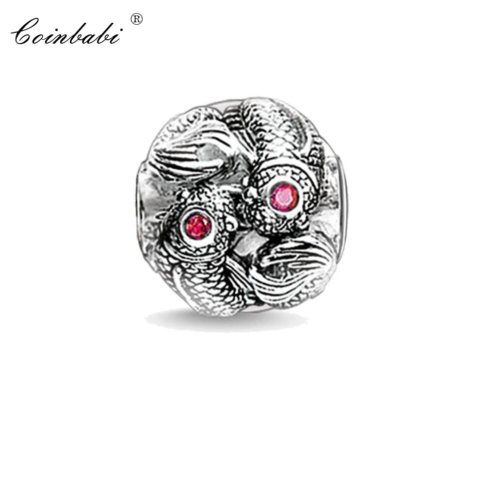 Bead Charm Koi Fish, Thomas Silver TS Crimp Jewelry Findings Component For Women Silver Gift Fit Karma Bracelet Necklace