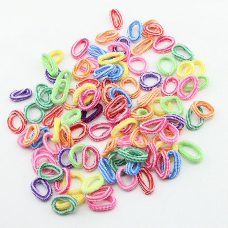 Оптовая продажа 100 шт./лот красочные детей Резиночки для волос Симпатичные резиновые волос резинки аксессуары девушка Подвески Галстук ГУМ