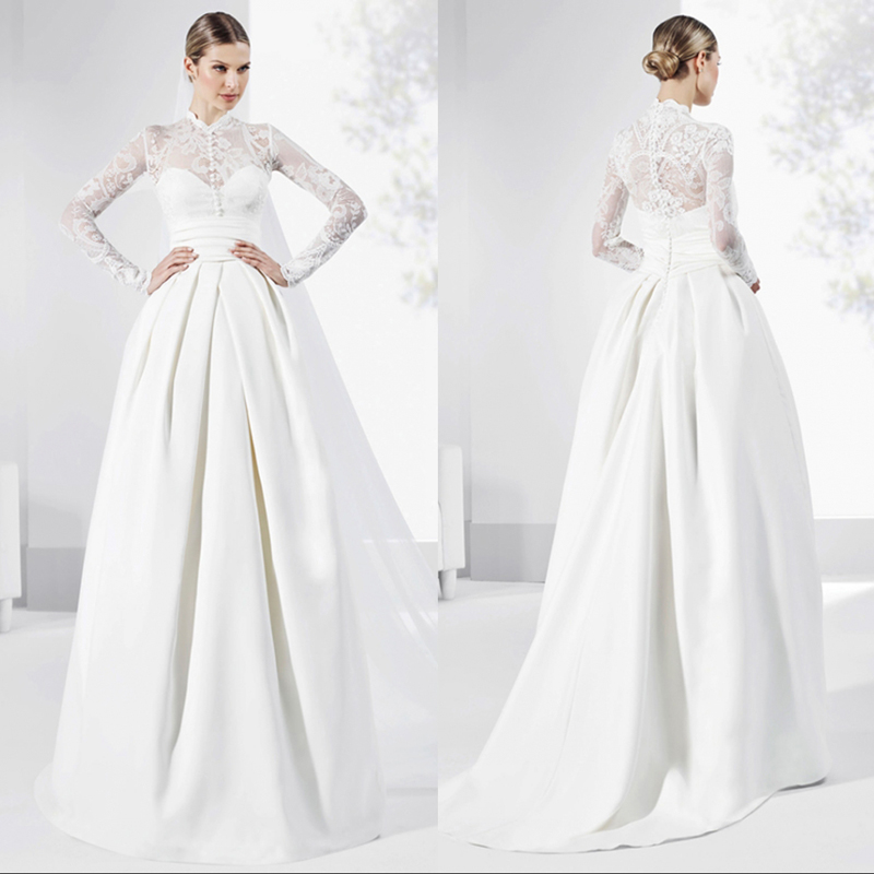 Elegant Silk Wedding Dresses With Sleeves: Elegant 2017 Wedding Dresses High Neck Lace Satin Long