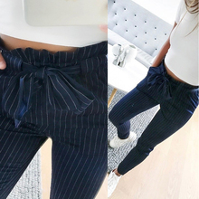 Купить с кэшбэком  OL chiffon high waist harem pants Women stringyselvedge summer style casual bottoms female 2019 New Blue Striped trousers