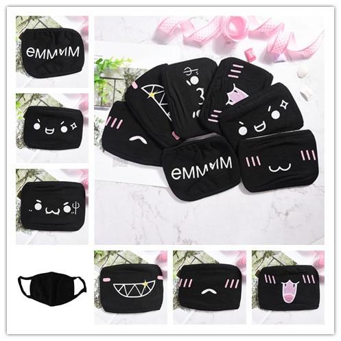 1pcs Anti-Dust Cotton Masks Cartoon Unisex Dustproof Mouth Mask Fashion Facial Protective Cover Masks Black