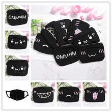 1pcs Anti-Dust Cotton Masks Cartoon Unisex Dustproof Mouth Mask Fashion Facial Protective Cover Black
