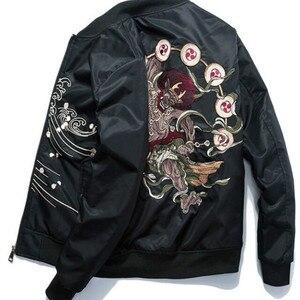 Image 5 - Куртка бомбер для мужчин с вышивкой; Одежда с рисунком из аниме куртка пилота Harajuku Японская уличная одежда бейсбольная куртка для девочек толстое теплое Молодежная Повседневная Новая