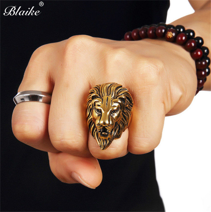 Blaike Vintage Gold/Silver Color Copper Lion Head Mens Rings Retro Punk Lion King Crown Thumb Ring Party Band Jewelry Gifts