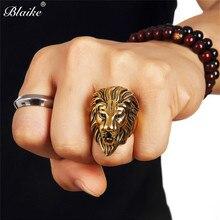 Anillos de cabeza de león de cobre de Color dorado/plateado Vintage de Blaike, anillos Retro Punk para hombre, corona de León, anillo de pulgar, banda para fiesta, regalos de joyería