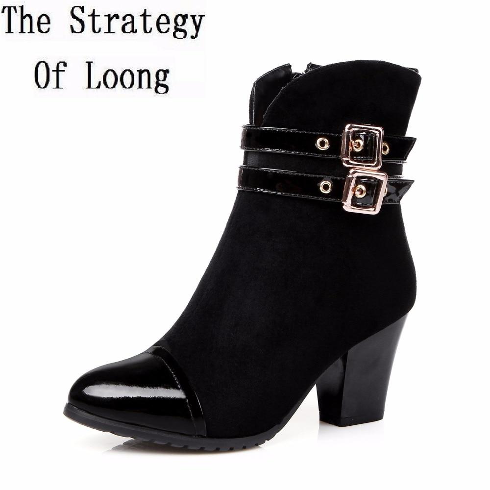 где купить Women Spring Autumn Winter Genuine Leather Thick High Heel Buckle Side Zipper Fashion Ankle Boots Plus Size 34-45 SXQ1006 по лучшей цене