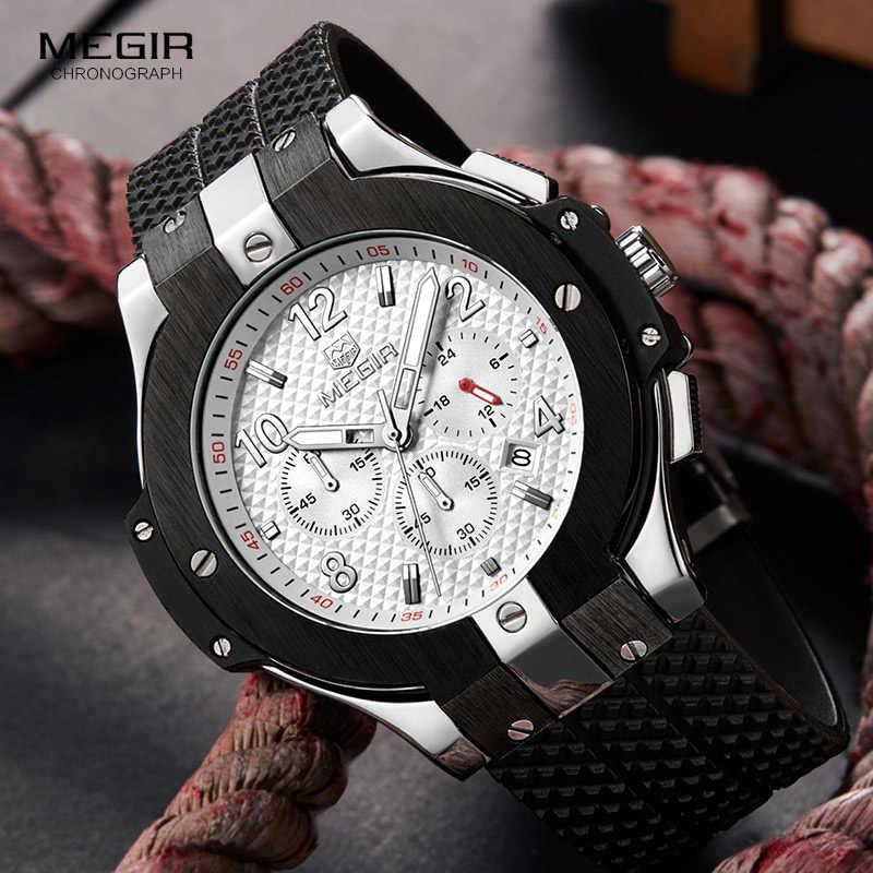 MEGIR クロノグラフスポーツウォッチ男性クリエイティブビッグダイヤル軍ミリタリークォーツ腕時計時計メンズ腕時計時間レロジオ Masculino
